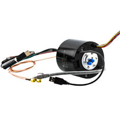 Hybrid Slip Ring Transferring HF, USB and Ethernet Signal with Solid Shaft for Video Surveillance