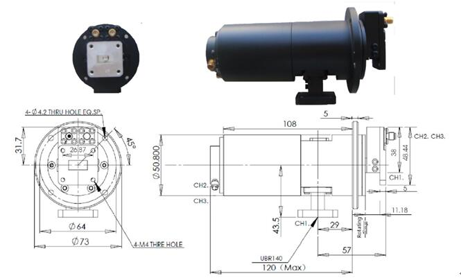 3 Channel Rotary Joint Slip Ring with DC to 14.6 GHz Frequency Range for Infrared Camera