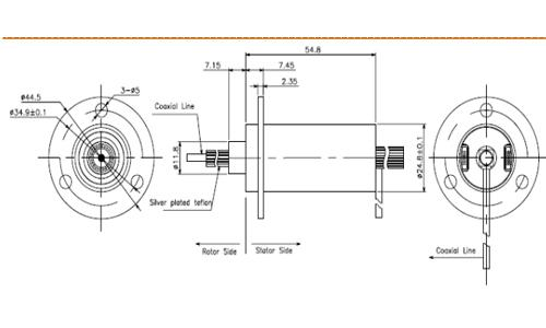 24 circuits hybrid slip ring rf rotary joint with low