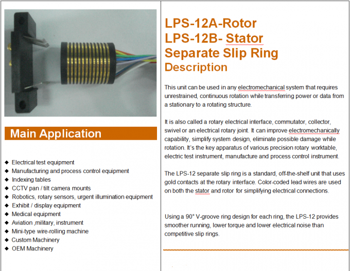 12 Circuits Separate Slip Ring Gold to Gold Contact 250mm Flexible Rotary Electrical Swivel Joint